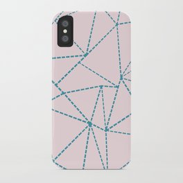 Ab Dotted Lines Blue on Pink iPhone Case