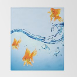 GOLDFISH AQUARIUM WATER ART Throw Blanket