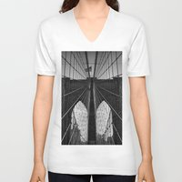 brooklyn bridge V-neck T-shirts featuring Brooklyn Bridge by Photos by Vincent