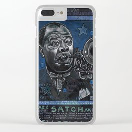 Louis Armstrong in Blue Clear iPhone Case