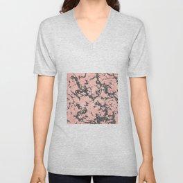 Trendy Rose Gold & Gray Glitter Marble Image Unisex V-Neck