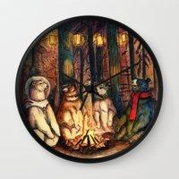 helen green Wall Clocks featuring Camp Meeting By Helen Green by Bear Picnic