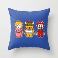 Chibi Mushroom Kingdom Throw Pillow