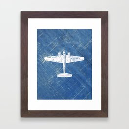 Industrial Art Print Airplane Art Print Blueprint Artwork Modern Art Living Room Decor Blue & White Framed Art Print