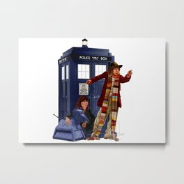 4th Doctor, Sarah Jane, K-9 and the TARDIS Metal Print