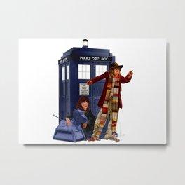 4th Doctor, Sarah Jane, K-9 and the TARDIS Metal Print
