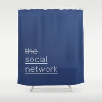 movie posters Shower Curtains featuring MOVIE SCRIPT / the social network by DANIEL COULMANN