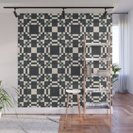 HABIT off-white black charcoal grey check pattern Wall Mural