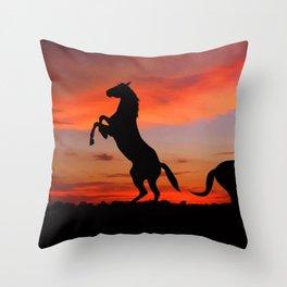 Horse Sunset Throw Pillow