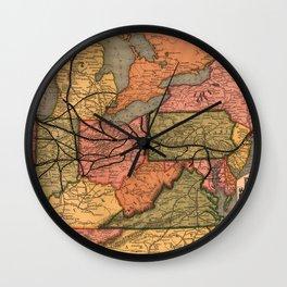 Vintage Ohio River Valley Railroad Map (1874) Wall Clock