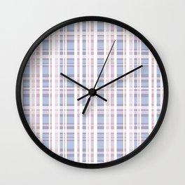 The checkered pattern . Scottish . blue , pink , white . Wall Clock