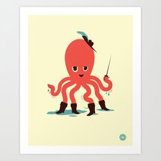 Octopus in Boots Art Print