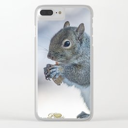Winter squirrel Clear iPhone Case