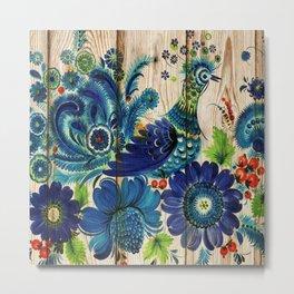 Russian Folk Art on Wood 02 Metal Print
