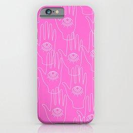 Pink Retro Hands iPhone Case