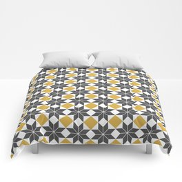 8 Point Star Pattern, Spicy Mustard, Charcoal Black Comforters