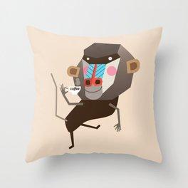 Baboon & Coffee Throw Pillow
