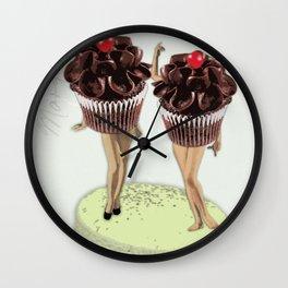 Miss Chocolate Cupcake Twins #Society6 #BuyArt #Decor Wall Clock