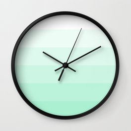 White to Mint Green Gradient Stripes Wall Clock