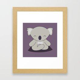 Kawaii Cute Koala Meditating Framed Art Print