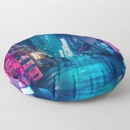 Neo Tokyo Cyberpunk aesthetic Floor Pillow