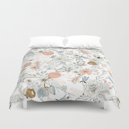 Abstract modern coral white pastel rustic floral Duvet Cover