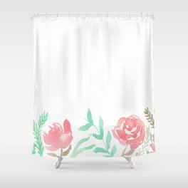 Pink Florals And Mint Leaves Shower Curtain