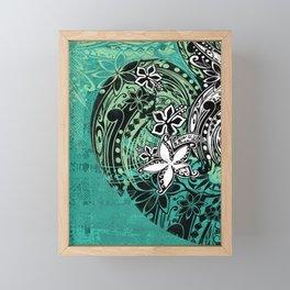 Samoan Jungle Green Tribal Grunge Framed Mini Art Print