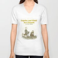 legolas V-neck T-shirts featuring Legolas and Gimli Are Friends by James E. Hopkins