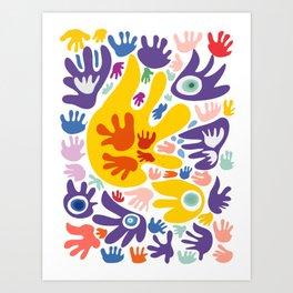 Multicolor Joyful and Peaceful Hands Abstract Art Pattern  Art Print