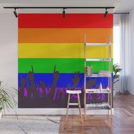 LGBT Rainbow Transgender Rainbow Flag With Waving Hands Wall Mural