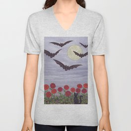 bats, zinnias, and black cat Unisex V-Neck