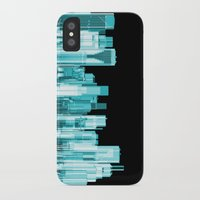 hologram iPhone & iPod Cases featuring Hologram city panorama by GrandeDuc