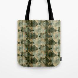 Zen Circles Block Print In Green and Gold Tote Bag