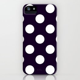 Geometric Candy Dot Circles - White on Black iPhone Case