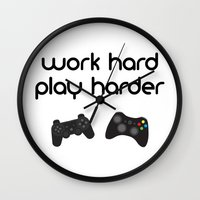 die hard Wall Clocks featuring Work hard play harder by eARTh