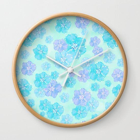 Blossoms Aqua Blue Mint Wall Clock