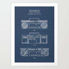 Boombox blueprints Art Print