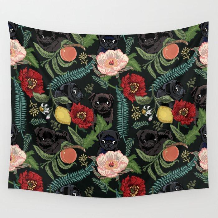 Botanical And Black Pugs Wall Tapestry By Huebucket Society6