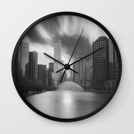 Chicago River Clouds black and white photograph by Chris Pelliccione Wall Clock