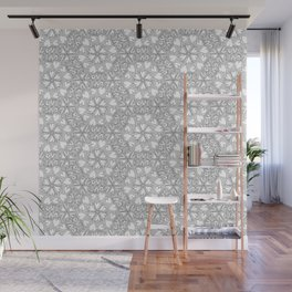 Love Hearts Doodle - Silver Wall Mural