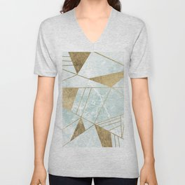 Modern blush green faux gold marble triangles stripes Unisex V-Neck