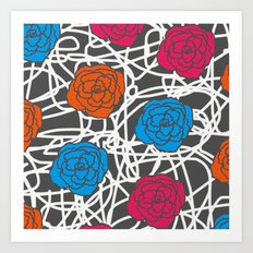 MULTI ROSE SQUIGGLE Art Print
