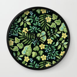 Tropical Leaves and Berries Wall Clock