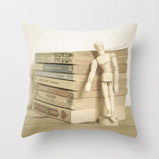 Little man books Throw Pillow