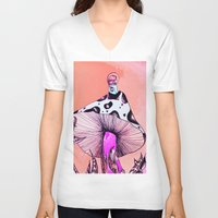 mushroom V-neck T-shirts featuring Mushroom by Flannery Rollins