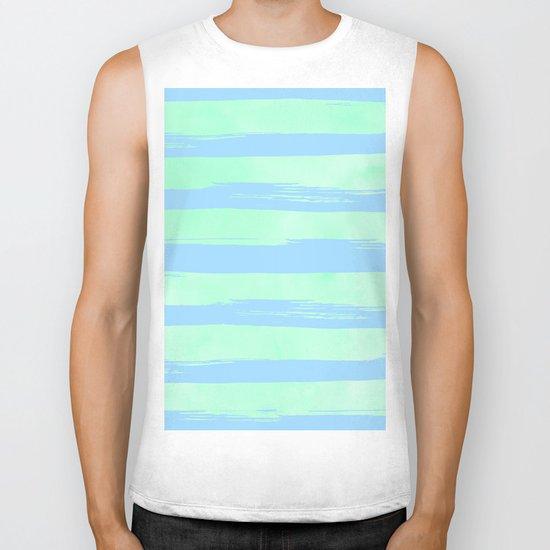 Trendy Stripes Blue Raspberry + Mint Meringue Biker Tank