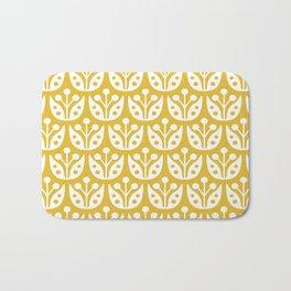 Mid Century Modern Flower Pattern Mustard Yellow Bath Mat