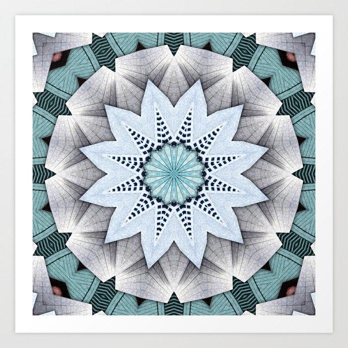 Turquoise Layers Mandala Art Print