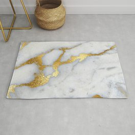 White and Gray Marble and Gold Metal foil Glitter Effect Rug